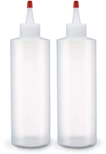 Condiment Squeeze Bottles, 8 Ounce BPA Free, 2 Pack with Red Cap, Great for Syrup, Ketchup, Sauces, Dressing, Oil, Arts and Crafts, Leak Proof - Perfect for Kitchen & Restaurant Hold