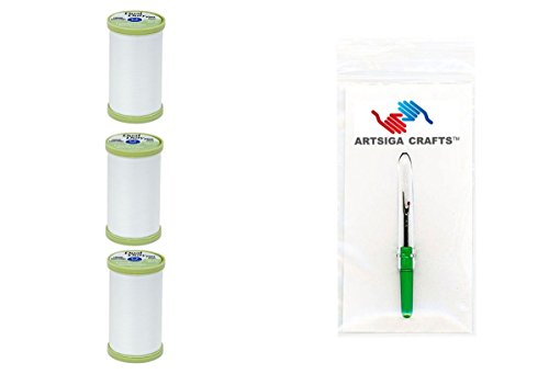 Coats & Clark Sewing Thread Dual Duty Plus Hand Quilting Cotton Thread 325 Yards (3-Pack) White Bundle with 1 Artsiga Crafts Seam Ripper S960-0100-3P