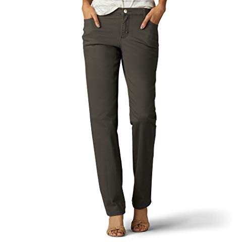 LEE Women's Size Tall Relaxed Fit Straight Leg Jean, sage, 14 by LEE