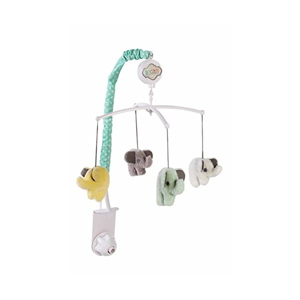 Bacati Elephants Unisex Musical Mobile Playing Brahms Lullaby for Attaching to US Standard Cribs, Mint/Yellow/Grey