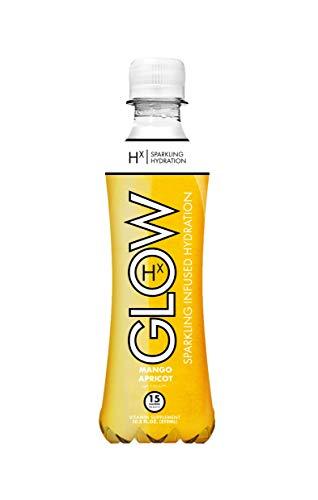 GLOW Beverages Premium Sparkling Infused Hydration Drink - 12 Pack 10.8oz Plastic - Mango Apricot - Vitamins & Antioxidants