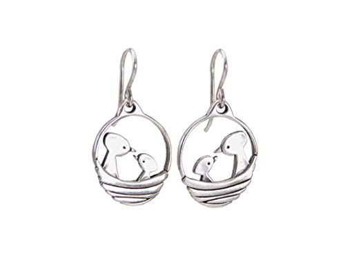 Sterling Silver Bird Nest Earrings - Mama and Baby 925 Charm for Women Mother's Day Gift