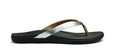OluKai Ho'opio Leather Sandal - Women's Silver/Charcoal 7