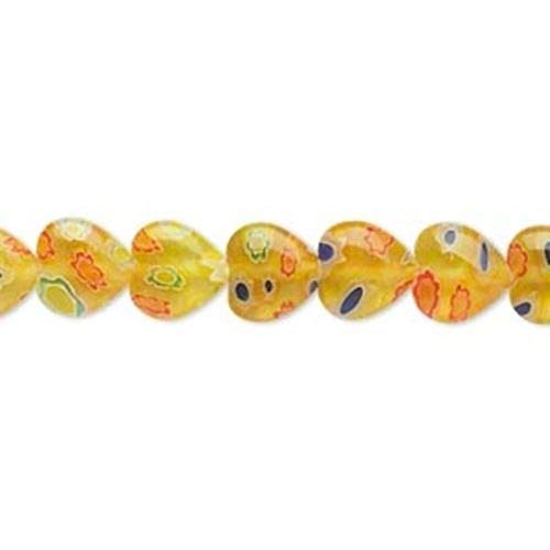 - Yellow with Multicolor Millefiori Mosaic Glass 8mm Puffy Heart Beads 50pc