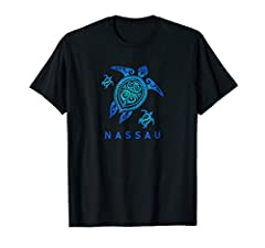 Nassau shirt sea turtle design for those going on a tropical vacation and travelling the world this year. blue ocean sea color type maori design.