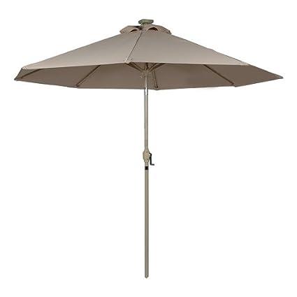 Sunergy 50140731 9u0027 Solar Powered Patio Umbrella W/ 16 LED Lights Taupe
