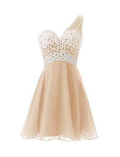 - Dresstells Short Homecoming Dress Beadings One Shoulder Prom Evening Dress Champagne Size 8