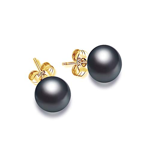Earring Simple Pearl Studs Earrings 7-8Mm Semi Round Pearl & 925 Silver Earrings Christmas Gift,Black