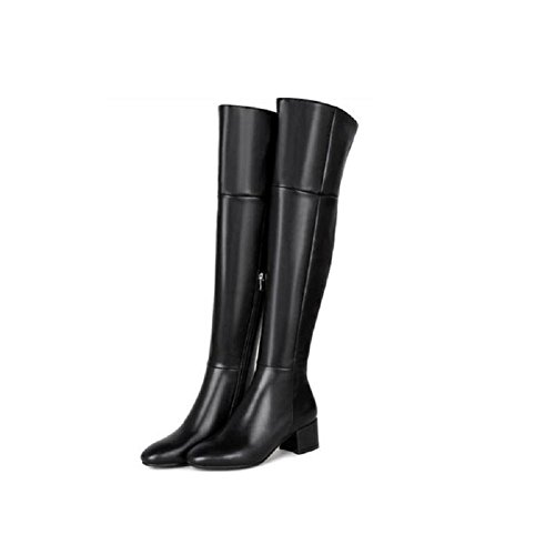Casual Bootie ginocchio sopra testa stivali Tondo inverno più donna velluto 34 pelle scarpe il 34 YcWW4v