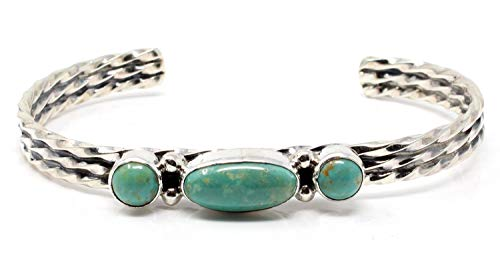 (L7 Trading Sterling Silver Three Stone Green Turquoise Bracelet by Joan Spencer)