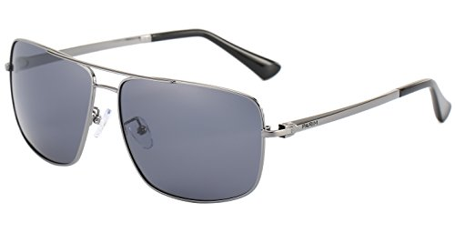 e68674ecfa PARIM Polarized   UV Protected Metal Rectangular Aviator Sunglasses for Men