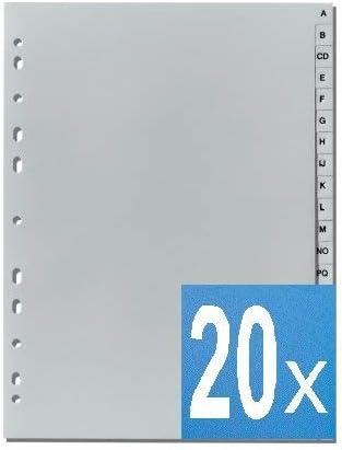 30 5-Star Buchstabenregister A-Z DIN A4 grau volle H/öhe