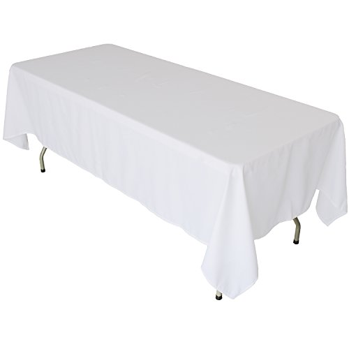 KAITATSU SEN Rectangular Polyester Fabric Tablecloth, White, 60x102-inch]()