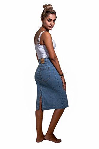 Nancy Nancypw MidiLavato Gonna Chiaro Jeans Moda Alla Uskees Di dxrCeBo