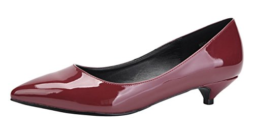 (Womens Classic Pointed Toe Slip On Dress Shoes Low Heel Pumps Wedding Shoe Wine Red Patent PU Size US9.5 EU43)