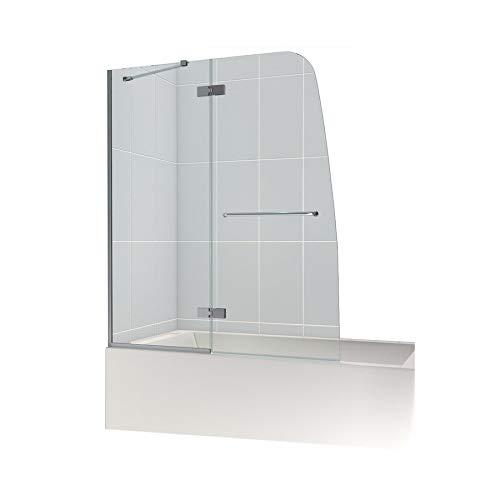 (DreamLine Aqua Ultra 48 in. W x 58 in. H Frameless Hinged Tub Door in Chrome,)
