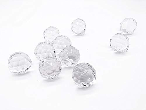 Clear Glass Crystal Ball Prisms Pendant Feng Shui Suncatcher Decorating Hanging Faceted Prism Balls for Feng Shui/Divination or Wedding/Home/Office Decoration 40mm Pack of 10