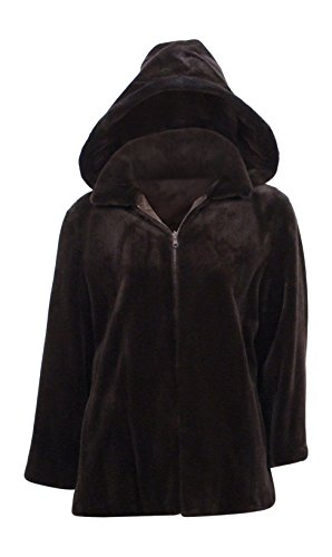 New Women's Sheared Mink Fur Hooded Jacket Parka 14 Large ()
