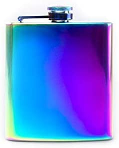Unicorn Iridescent 6oz Rainbow Coloured Florescent Stainless Steel Hip Flask