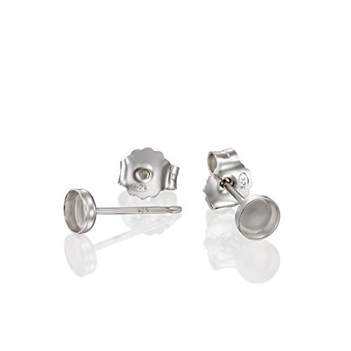 (Round Setting 925 Sterling Silver 4 mm Bezel Cups Stud Earrings with Post & Butterfly Backs, 4 Pcs (2 Pairs))