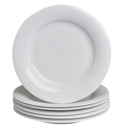 Michael Fischer Tavola plato porcelana blanco, 6 pcs