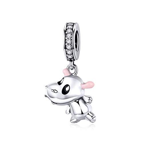 (WOSTU 925 Sterling Silver Hippo Dangle Charms for Bracelets Necklace, Cute Cubic Zirconia Lucky Charms.)