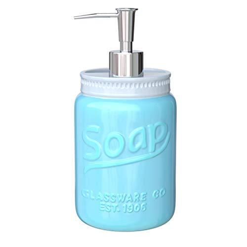 Comfify Mason Jar Design Soap Dispenser & Toothbrush Holder - Vanity Decorative Bathroom Accessories with Stainless Steel Pump & Ceramic - 12oz Liquid Soap Dispenser for Bath with Embossed Design (Preschool Toothbrush Holder)