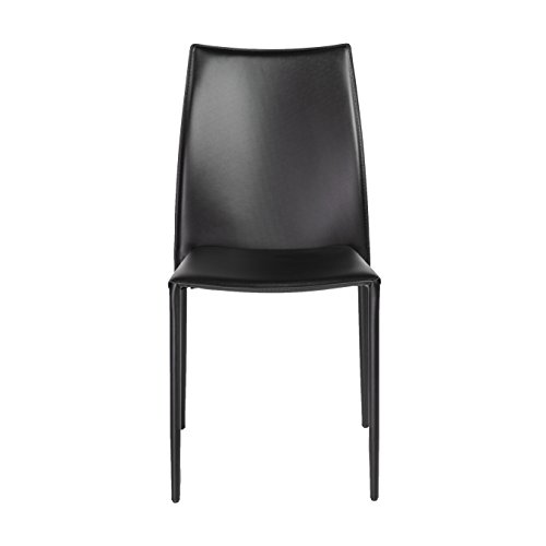 Euro Set Chair - Euro Style Dalia Stacking Side Chair in Black - Set of 2