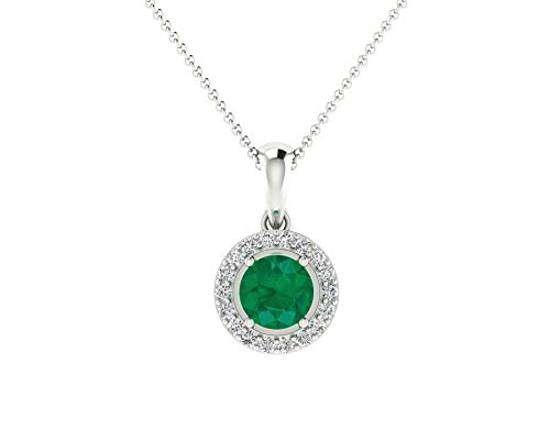 Euforia Jewels IGI Certified 14K Fine Gold Natural Emerald 4 x 4 mm Round and 0.08 Cts Natural Diamond I1-I2/G-H Round Cut Pendant With Free 925 Sterling Silver - Diamond 14k Emerald Cut Wg
