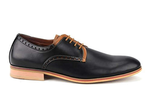 Ferro Aldo Mens 19393le Stringate Scarpe Oxford Bicolore Punta Rotonda Nere