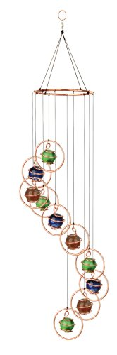(Red Carpet Studio Spiral Tunes Copper Round Ring w/ Multi-color Marbles Wind Chimes)