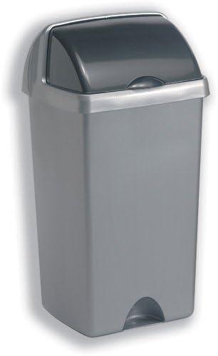Abfallbehälter Mülleimer mit Roll Top, Polypropylen, 48 Liter, Metallisches Silber