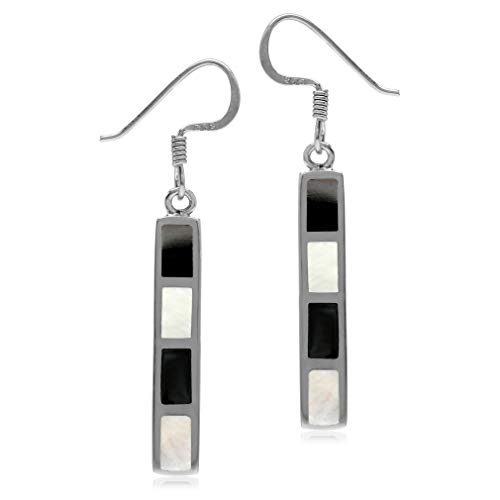 (Silvershake White Mother of Pearl and Created Black Onyx Inlay 925 Sterling Silver Long Stick Dangle Hook Earrings)