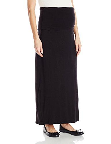 Three Seasons Maternity Women's Long Solid Skirt, Black, L