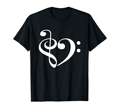 - Treble Clef Bass Clef Heart Music Lover T-Shirt