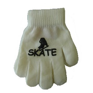 Ice Skate Logo Magic Stretch Gloves - White