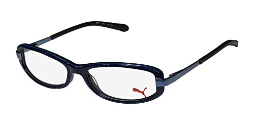 Puma 15365 Zetta II Mens/Womens Cat Eye Spring Hinges Upscale Unisex Hard Case Optimal TIGHT-FIT Designed For Active Lifestyles Eyeglasses/Eyewear (52-15-135, Black / Blue) ()