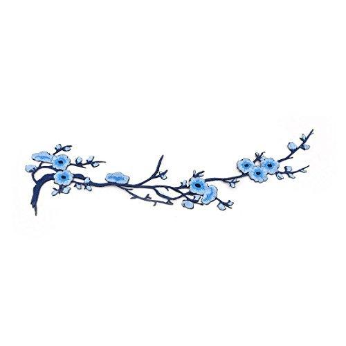 eDealMax polister Flor del ciruelo El diseo de DIY de Coser Sombrero de la ropa decoracin de Encaje apliques Azul