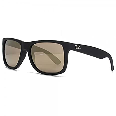 b468bde6b874a Amazon.com  Ray-Ban RB4165 Justin Sunglasses Matte Black w Gold Mirror (622  5A) 4165 6225A 55mm Authentic  Clothing