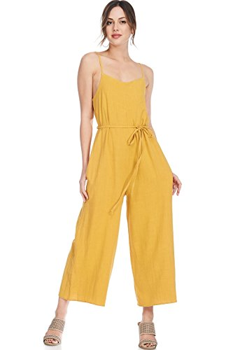 Alexander + David A+D Womens Casual Linen Spaghetti Strap Sexy Jumpsuit Rompers (Mustard, Small)