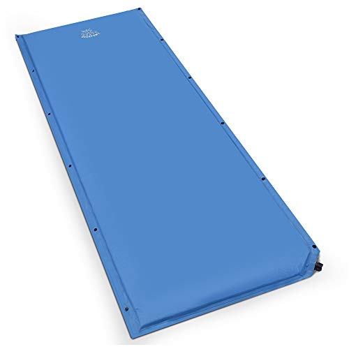 DEERFAMY Wide Self-Inflating Camping Pad 73x27x1.5inch Sleeping Pad 1.5inch Thick Sleeping Mat for Side-Sleepers Connectable for Family Camping, Car Travel (Best Sleeping Pad For Side Sleepers)