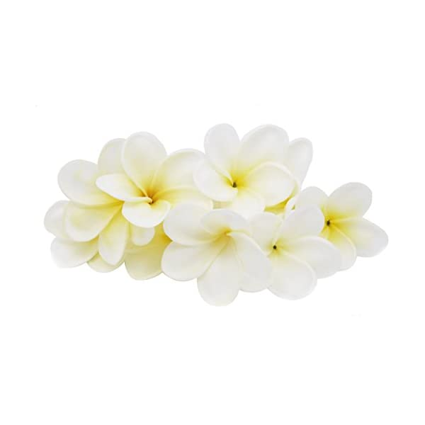 Winterworm Bunch of 10 PU Real Touch Lifelike Artificial Plumeria Frangipani Flower Bouquets Wedding Home Party Decoration (Yellowish White)