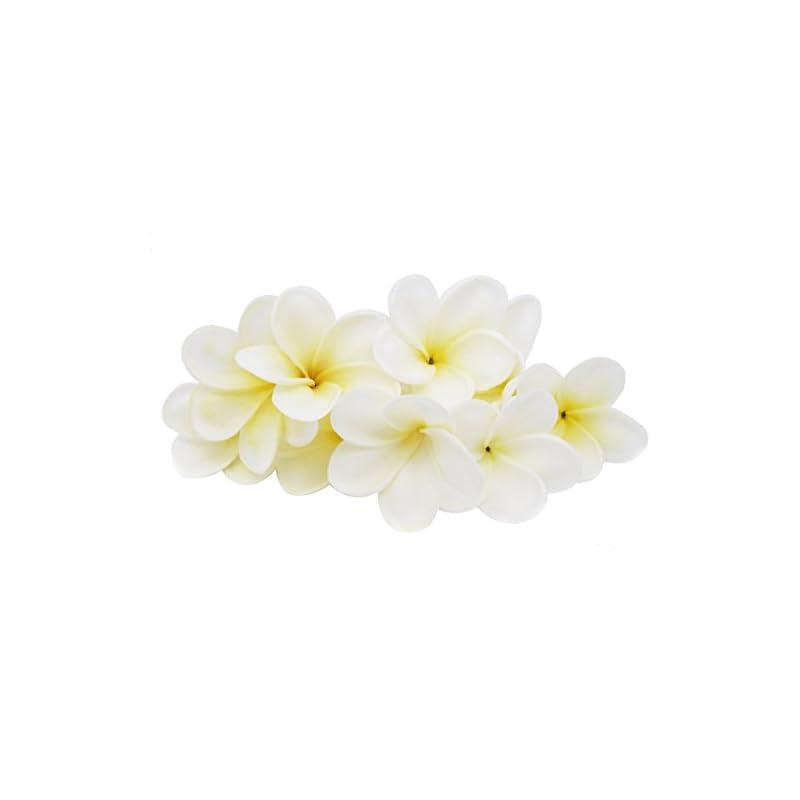 silk flower arrangements winterworm bunch of 10 pu real touch lifelike artificial plumeria frangipani flower bouquets wedding home party decoration (yellowish white)