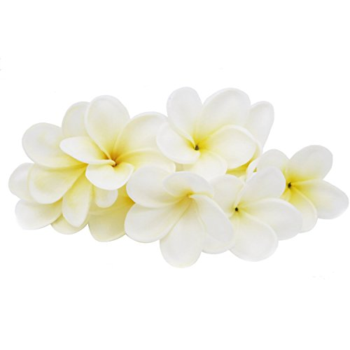 - Winterworm Bunch of 10 PU Real Touch Lifelike Artificial Plumeria Frangipani Flower Bouquets Wedding Home Party Decoration (Yellowish White)