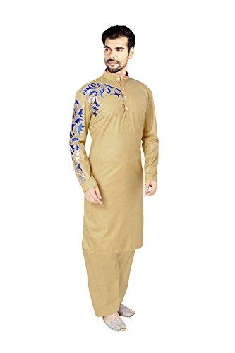 PinkCityCreations Mens Kurta Pajama Wedding Chiku Indian Party Wear Set of 2. by PinkCityCreations