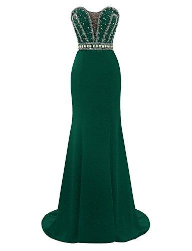 Abschlussball Erosebridal Meerjungfrau Formales Elegante kleider Grün Abendkleid 2018 tqUq1