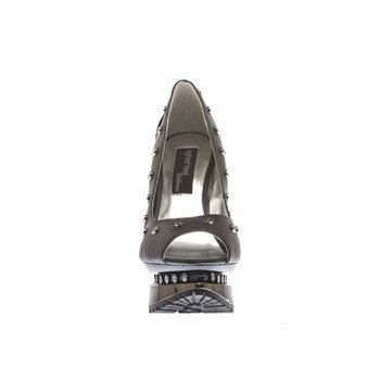 (The Highest Heel Women's Flame-41-Bsof Open-Toe Pump,Black Soft Polyurethane,8 M US)