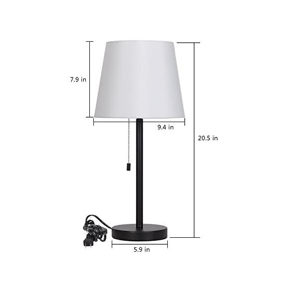 HAITRAL Bedside Table Lamps, Nightstand Lamps Set of 2, Modern Desk Lamps for Bedroom, Living room, Office - Black - PERFECT DESK LAMPS SIZE: 20.5 x 5.9 inches, generous table lamp great fits on any bedside table, office desk, dressing table. It needs E26 light bulb(bulb not include), max 60 Watt CONVENIENT NIGHTSTAND LAMPS: The modern lamp, with a pull chain switch on the lamp holder, you don't have to reach as far in bed to turn them on or off. Great bedside lamps for reading, working, study, enjoy high quality lighting CONTEMPORARY LAMPS FOR HOME DECOR: The unique elegant table light looks beautiful in modern or industrial decor. Black metal base and white line fabric, stylish design adds a touch of elegance to any room. Perfect for your home or office - lamps, bedroom-decor, bedroom - 31w7nnvTmXL. SS570  -