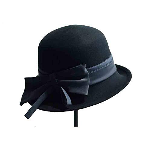 Sunny Moda Fieltro Arco Acento Casual Mujer Con color De Británica Pescador Sombrero Negro Caramel Cloche Sombreros Bowler RTnPqRCwrx
