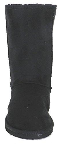 New Fashion Winter Mid Calf Comfort Flat Boot Shoes Black Fo3K1XhTij